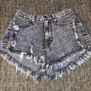 Vibrant High Waisted Shorts, Grey, Stretchy